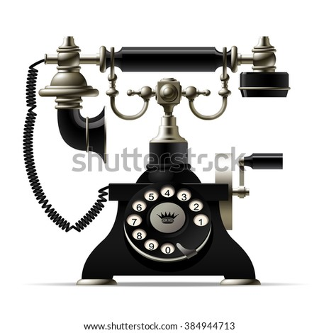 Old telephone isolated on white. Retro rotary dial black phone. Vector illustration. EPS 8