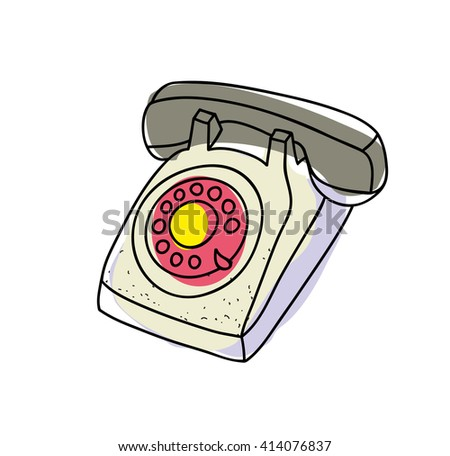 Old telephone. Vector illustration.
