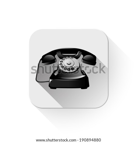 old telephone With long shadow over app button