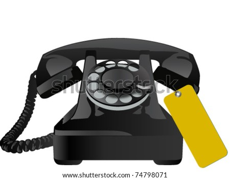 old telephone with yellow tag
