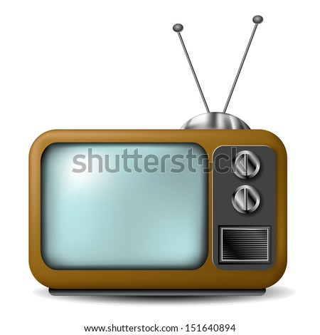 Old television with antenna - stock vector
