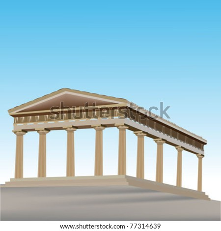 old temple ruins - stock vector