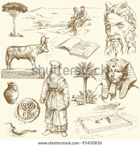 old testament - moses - hand drawn set - stock vector