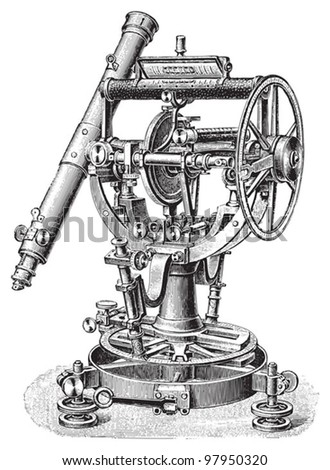 Old Theodolite / vintage illustration from Meyers Konversations-Lexikon 1897 - stock vector