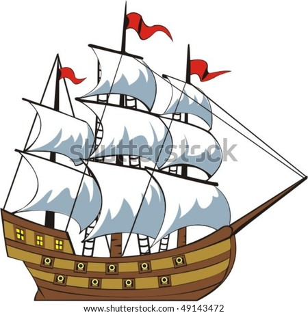 old time cannon sailing nave from the side - stock vector