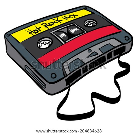 Old time cassette tape hot rock mix, ribbon out. - stock vector