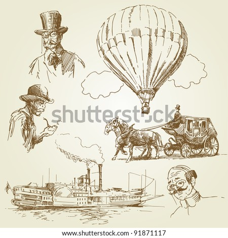 old time collection - stock vector