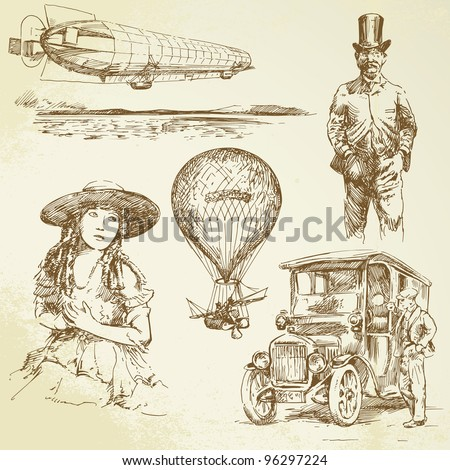 old time - hand drawn set - stock vector