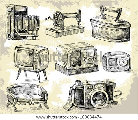 old times-original hand drawn set - stock vector