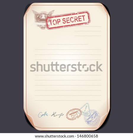 Old Top Secret Document on Table. Vector Template - stock vector