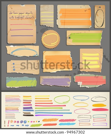old torn paper objects & highlight elements - stock vector