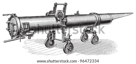 Old torpedo launcher / vintage illustration from Meyers Konversations-Lexikon 1897 - stock vector