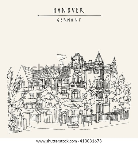 Old town in Hanover, Germany, Europe. Nouveau historical building, trees. Freehand drawing. Travel sketch. Vintage touristic postcard, poster template or book illustration in vector