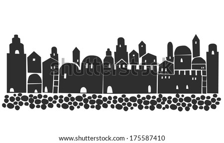 Old Town,  Middle East, Ancient, Stylization, Illustration - stock vector