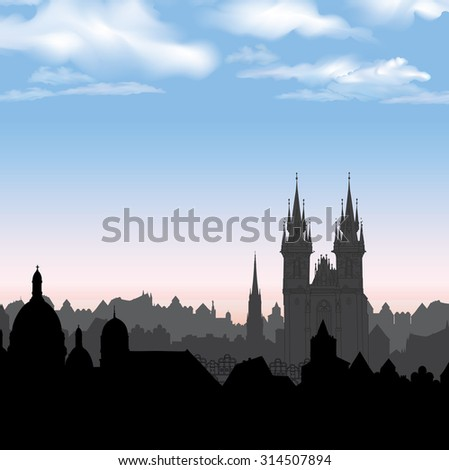 Old Town of Prague, Czech Republic. Cityscape in the old european city with tower on the background. Historic city street. Travel Prague background. - stock vector