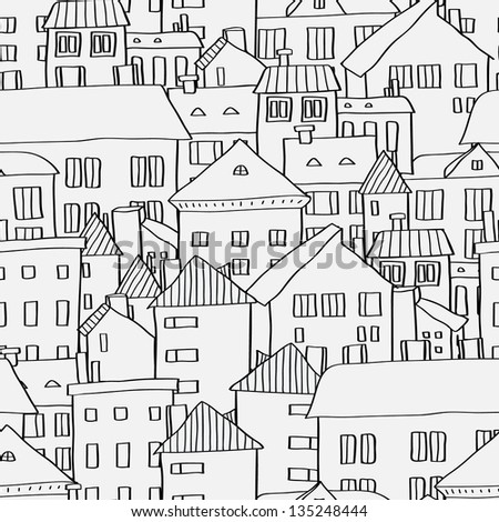 Old town panoramic seamless pattern in black and white, vector - stock vector