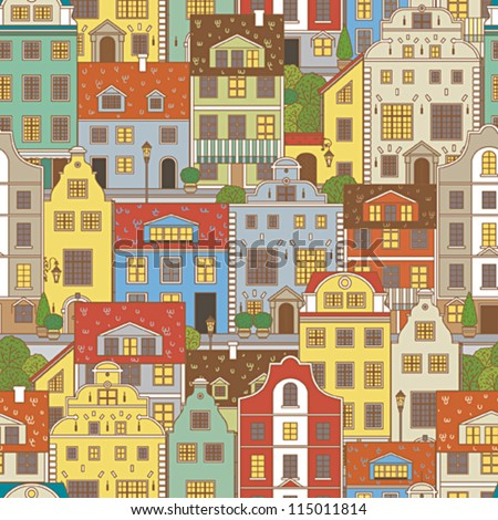 Old town seamless pattern - stock vector