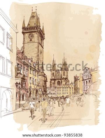 Old Town Square, Prague, Czech Republic - a vector sketch - stock vector