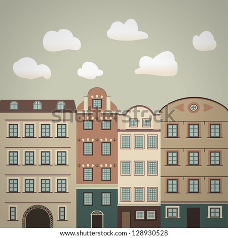 old town vintage illustration - stock vector