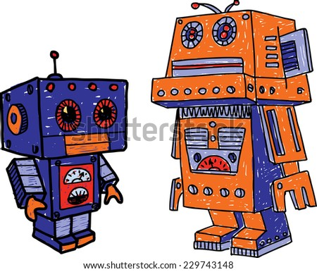 old toy robots - stock vector