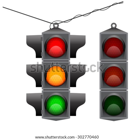 Old traffic light hanging - stock vector