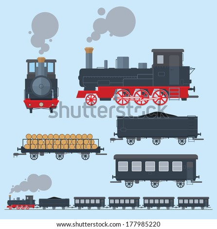 Old train flat style. EPS8. - stock vector