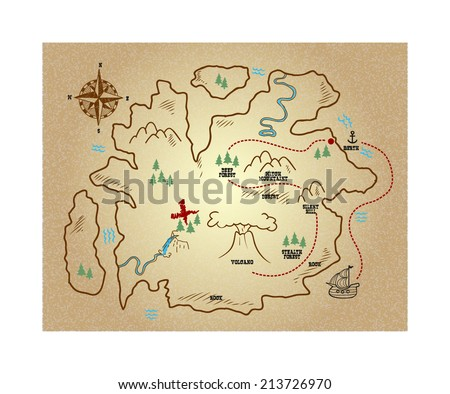 Old treasure map isolated on white background - stock vector