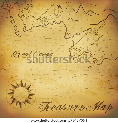 Old treasure map with hand drawn elements. Illustration contains gradient mesh - stock vector