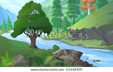 OLD TREE BY RIVERSIDE  AMIDST HILLS  AND ROCKS - stock vector