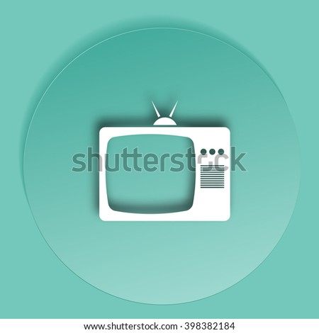 Old TV icon. Flat design style. Stock vector illustration - stock vector