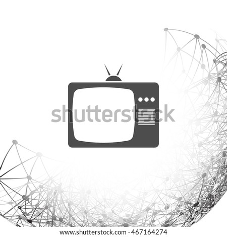 Old TV icon. Flat design style. Stock vector illustration