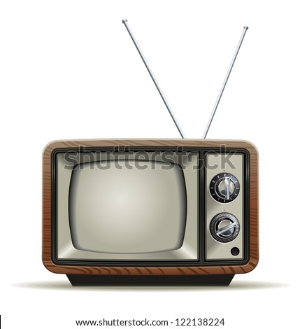 Old TV. Illustration of the good old retro TV without remote control. - stock vector