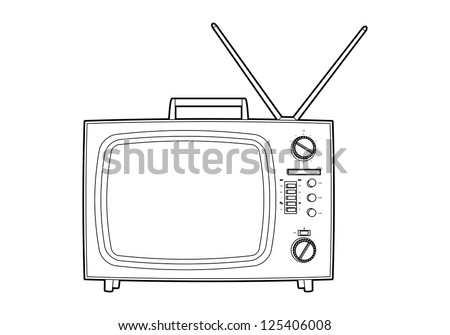 Old tv on white background (outline) - stock vector