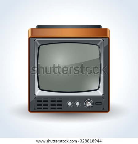 Old TV set realistic vector icon