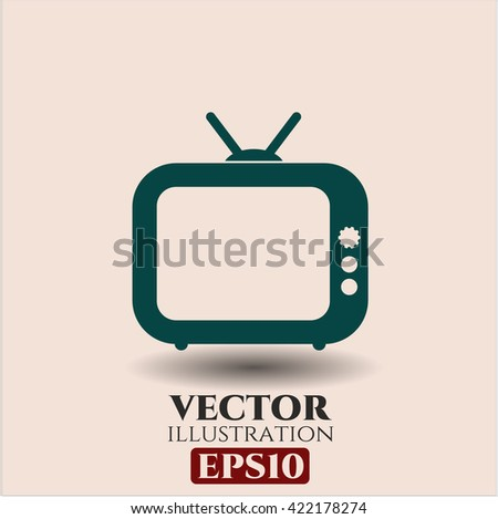 Old TV (Television) icon, Old TV (Television) icon vector, Old TV (Television) icon symbol, Old TV (Television) flat icon, Old TV (Television) icon eps, Old TV (Television) icon jpg - stock vector
