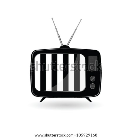 old tv with black and white line vector illustration - stock vector