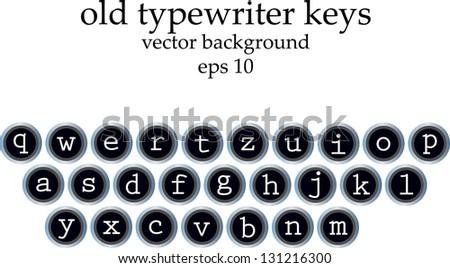 old typewriter keys with all alphabet symbols - stock vector
