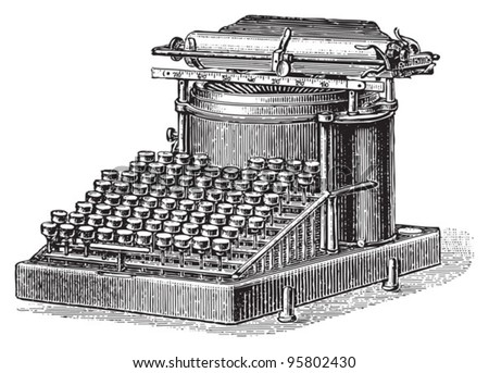 Old typewriter / vintage illustration from Meyers Konversations-Lexikon 1897