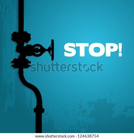 Old valve, silhouette on blue, illustration - stock vector