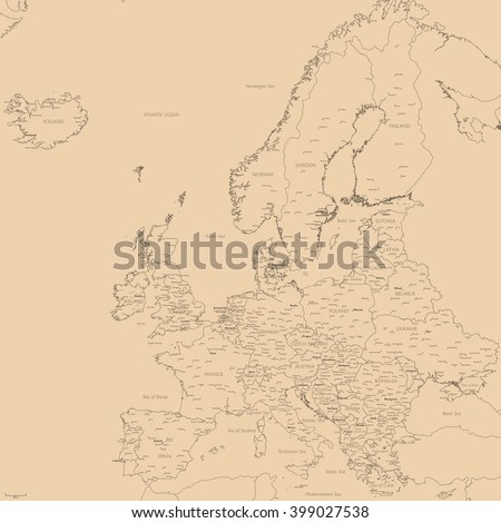Old vector map of Europe | Contour detailed Europe political map with cities - stock vector