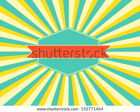 Old vector  retro vintage grunge label on sun rays background - stock vector