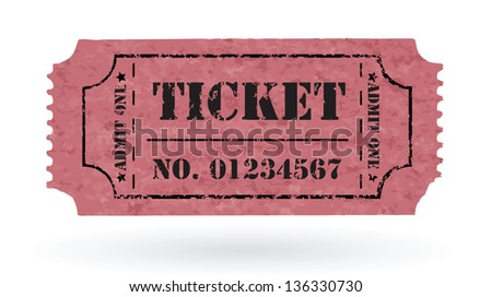 Old Vector vintage paper ticket with number - vector - stock vector