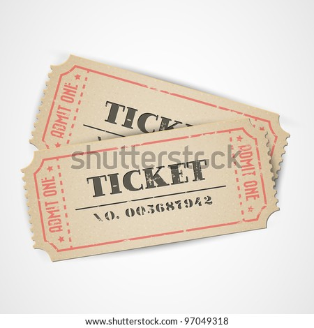 Old Vector vintage paper tickets with numbers - stock vector