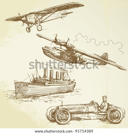 old vehicles - airplanes, ship, racing car - hand drawn set - stock vector