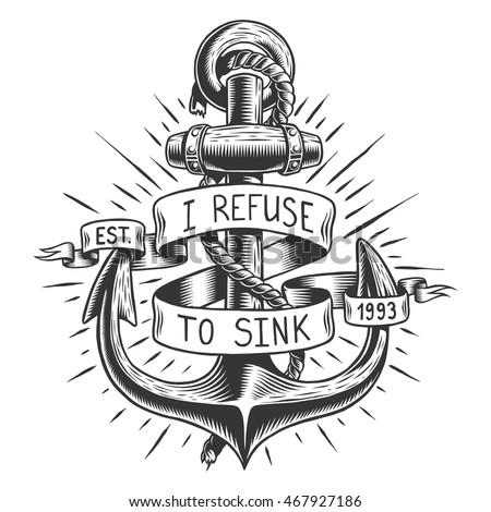 Old Vintage Anchor With Rope And Ribbon Text Quote