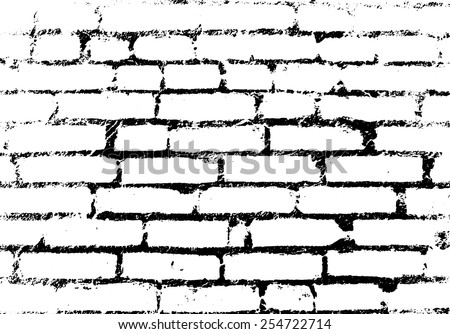 Old vintage brick wall. Background, pattern black and white. Vector illustration - stock vector