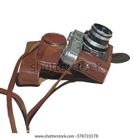 old vintage camera with cover film vector isolated