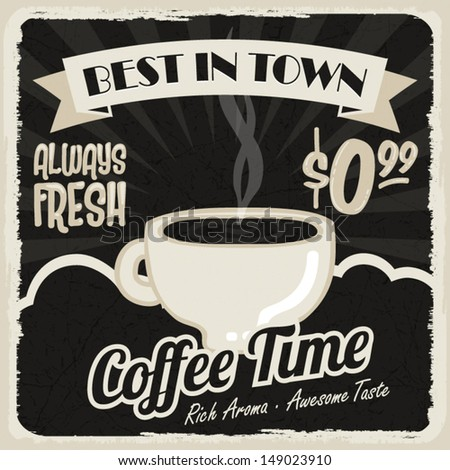Old vintage coffee poster, retro style, design elements, vector illustration - stock vector