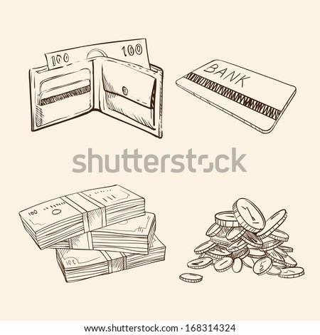 old vintage drawing sign of money - stock vector