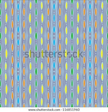 old vintage fabric, or textile; it is a seamless pattern background made with little grunge colorful strokes, very retro like from 70`s or 60`s and very crafty and homemade - stock vector